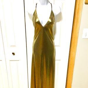 NWOT American Apparel Gold Maxi Dress S